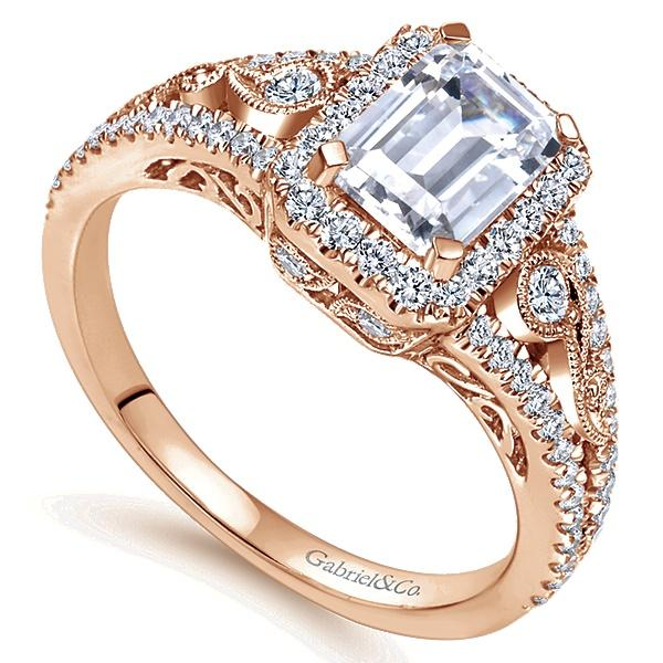 14k Pink Gold Emerald Cut Halo  Engagement Ring