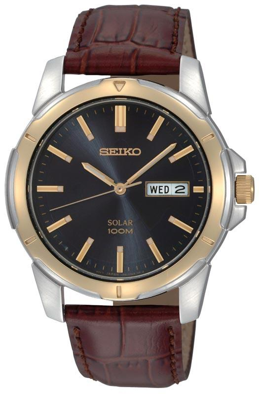 Seiko Mens Stainless Steel Solar Watch with Brown Leather Strap