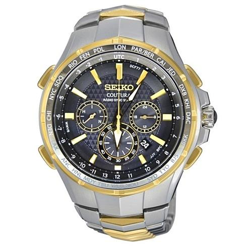 New Seiko Coutura Radio Sync Solar Chronograph Two Tone Mens Watch