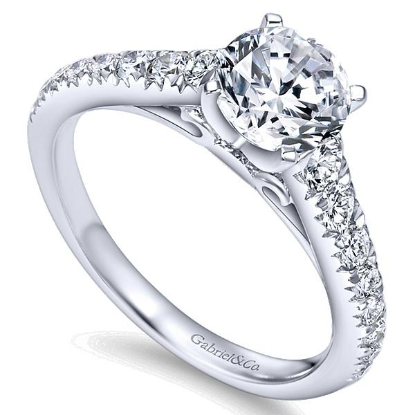 Bridget 14k White Gold Round Straight  Engagement Ring