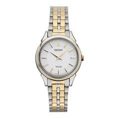 Seiko Solar Ladies Thin Dress Watch Two-Tone White Dial Bracelet