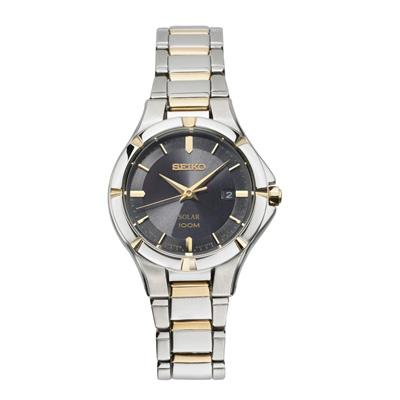 Ladies Seiko Solar Two-Tone Watch with Black Dial
