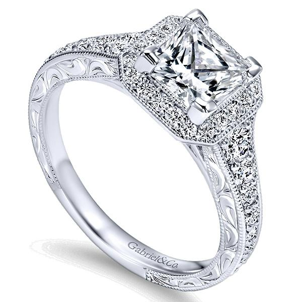 Estelle 14k White Gold Princess Cut Halo  Engagement Ring