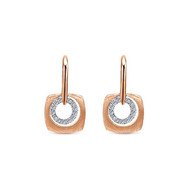 14k Pink Gold Drop  Earrings