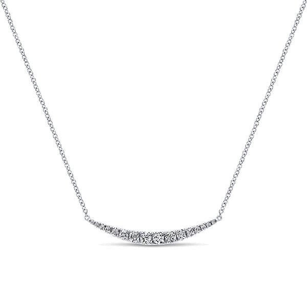14k White Gold Bar  Necklace
