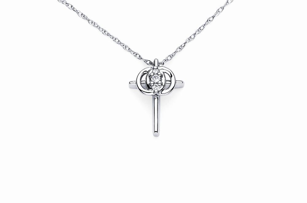 14K White Gold Christian Marriage Symbol Cross Pendant .25pts