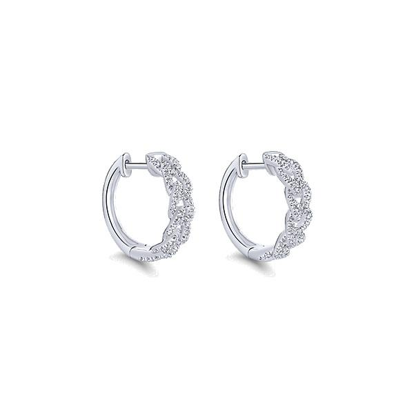 14k White Gold Huggie  Earrings