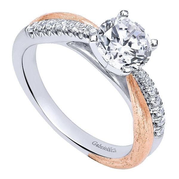 Kendall 14k White/Rose Gold Round Twisted  Engagement Ring