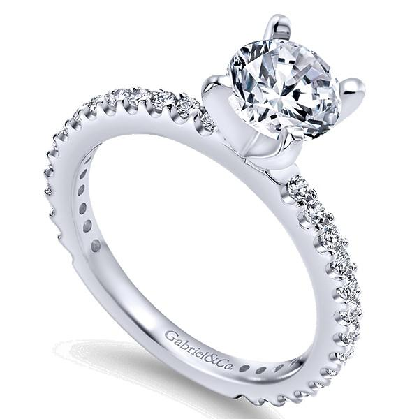 Logan 14k White Gold Round Straight  Engagement Ring