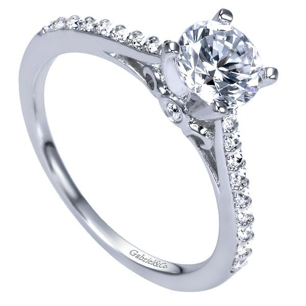 Jocelyn 14k White Gold Round Straight  Engagement Ring