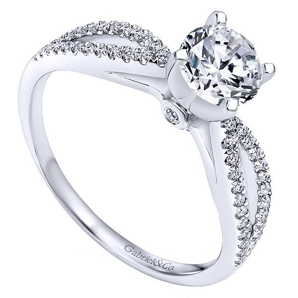 Elyse 14k White Gold Round Split Shank  Engagement Ring