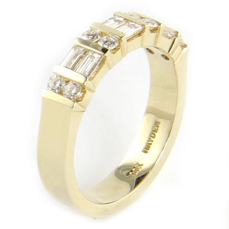 Hayen 14k gold brilliant baguette and round diamonds band