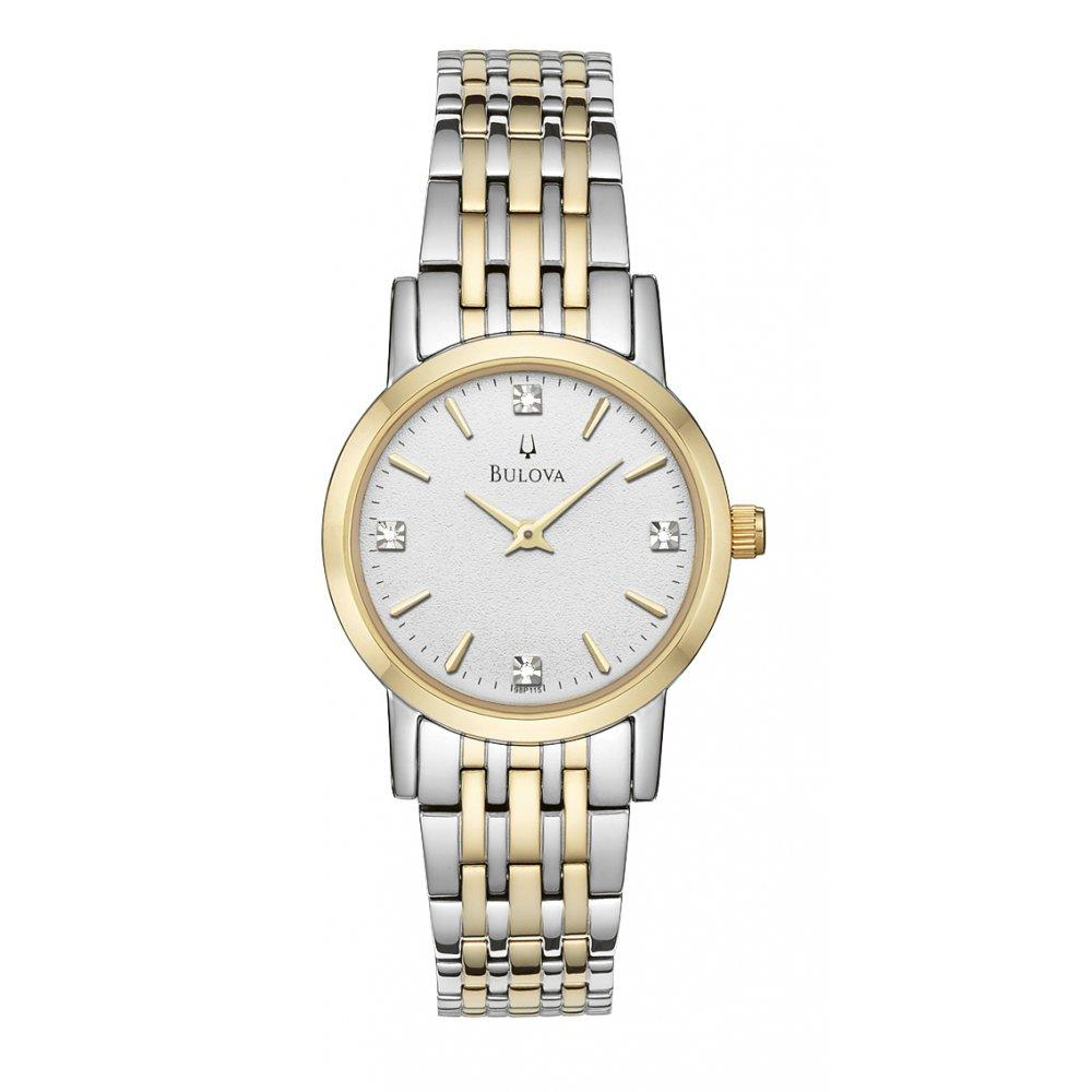 Womens Diamond Accent Two-Tone Stainless Steel Bracelet Watch