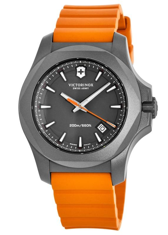 Victorinox Swiss Army I.N.O.X. Titanium Grey Dial Orange Rubber Mens Watch