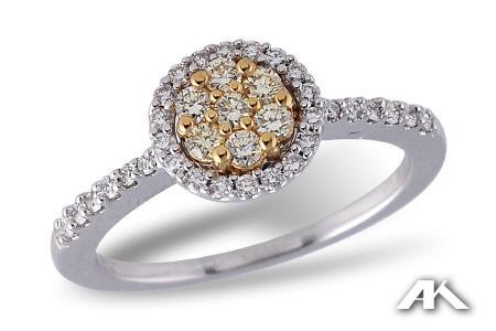 14k White gold Ladies Yellow Diamond Ring