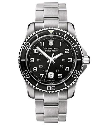 Victorinox Swiss Army Mens 241436 Maverick Stainless Steel Black Dial Watch
