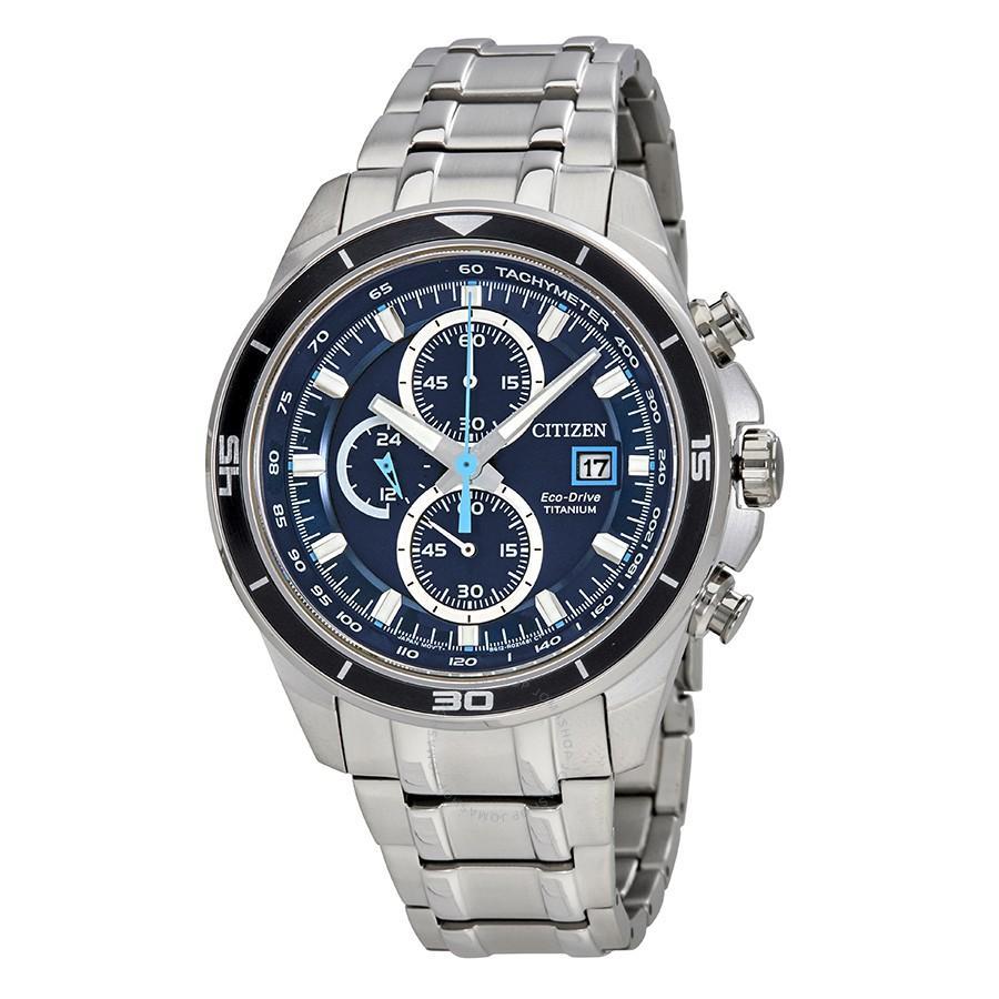 Mens Chronograph Eco-Drive Titanium Bracelet Watch