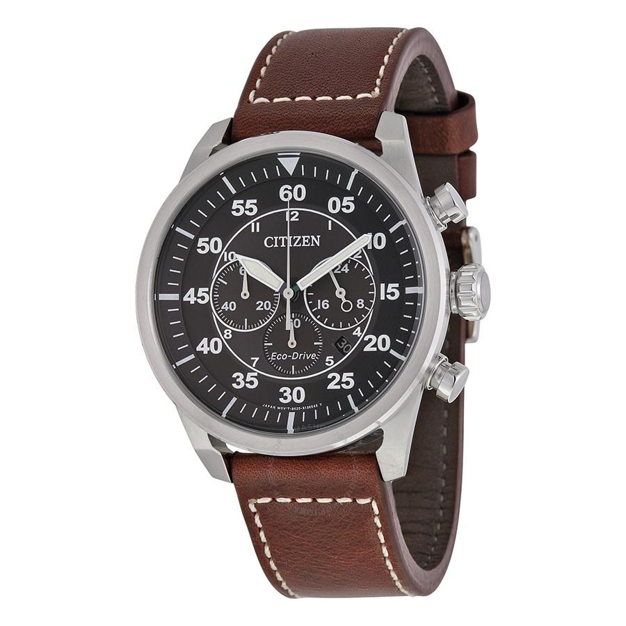 Citizen Eco-Drive Mens Stainless Steel Leather Avion Watch