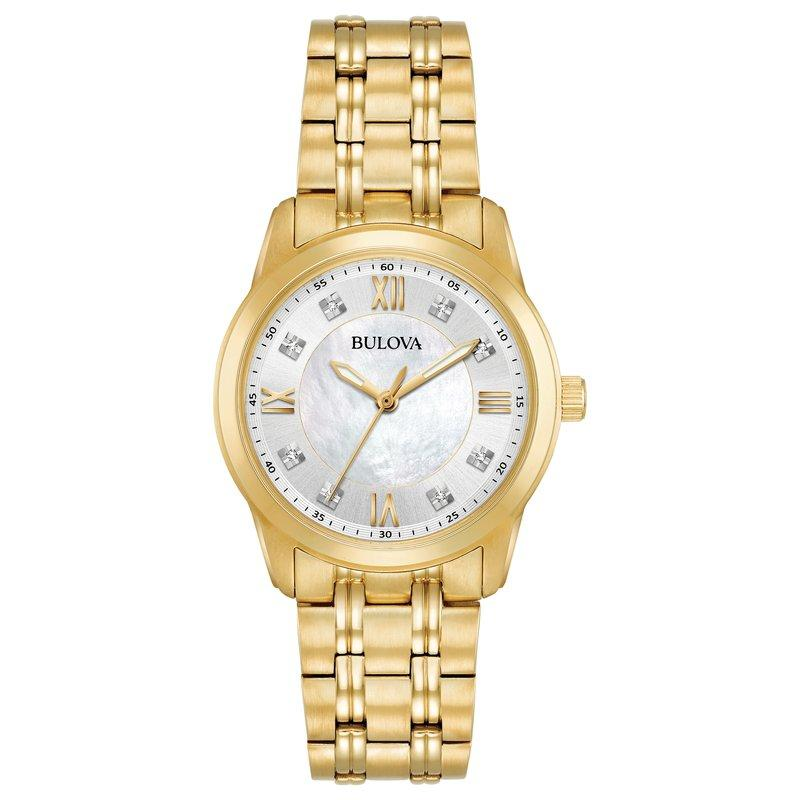 Bulova Ladies Gold-Tone Diamond Watch