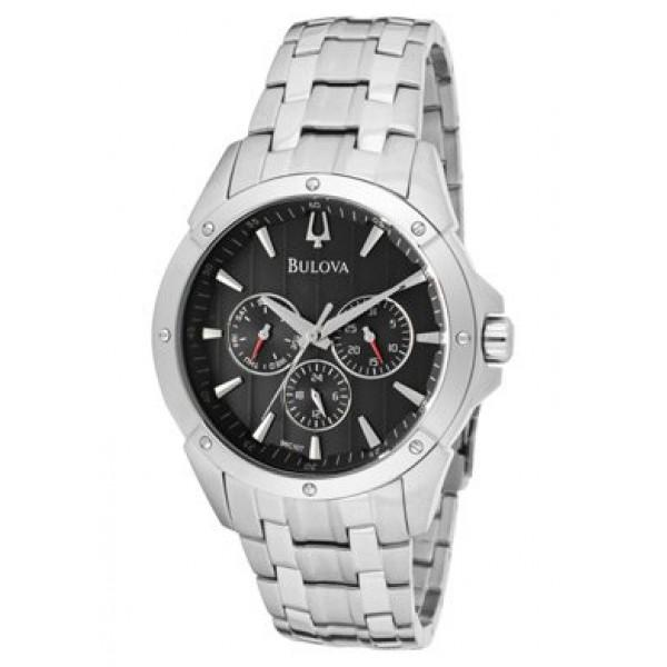 Bulova Mens Stainless Steel Bracelet Watch with Black Dial