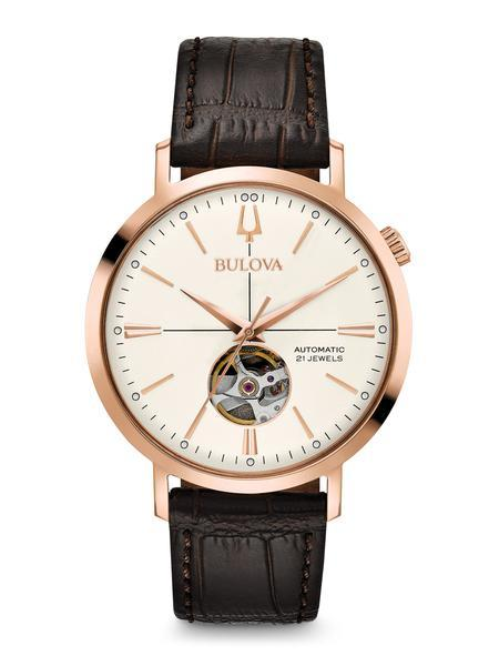 Bulova Mens Classic Leather Automatic Skeleton Watch
