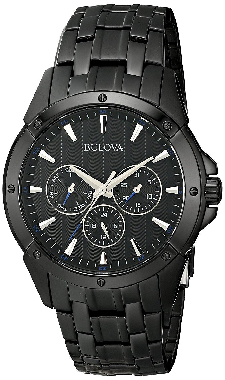 Bulova Mens  Sport Analog Display Japanese Quartz Black Watch