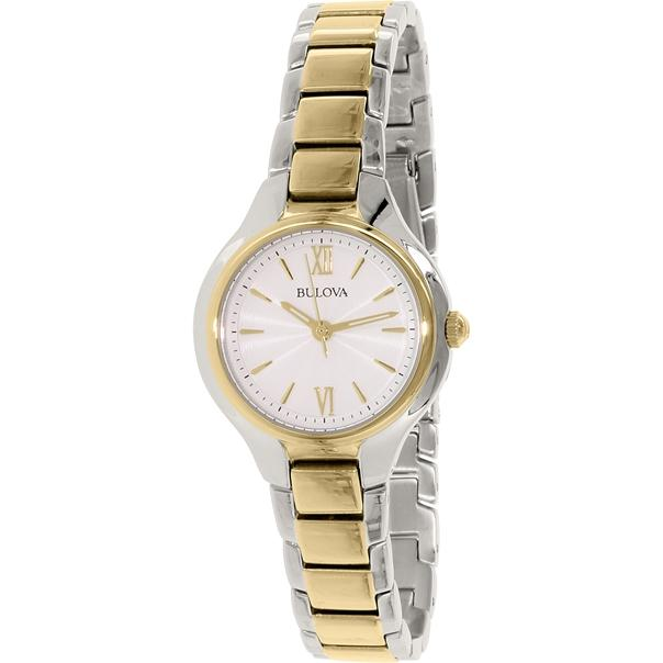 Bulova Womens  Analog Display Quartz Two Tone Watch