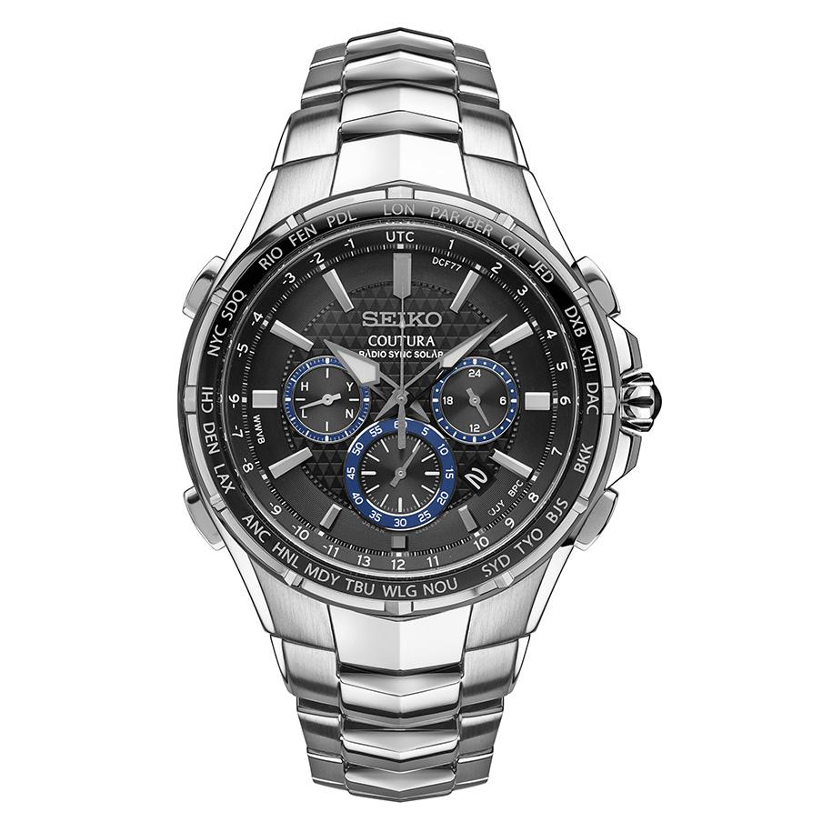 Seiko Mens Radio Sync Solar Chronograph Silvertone with Black Dial