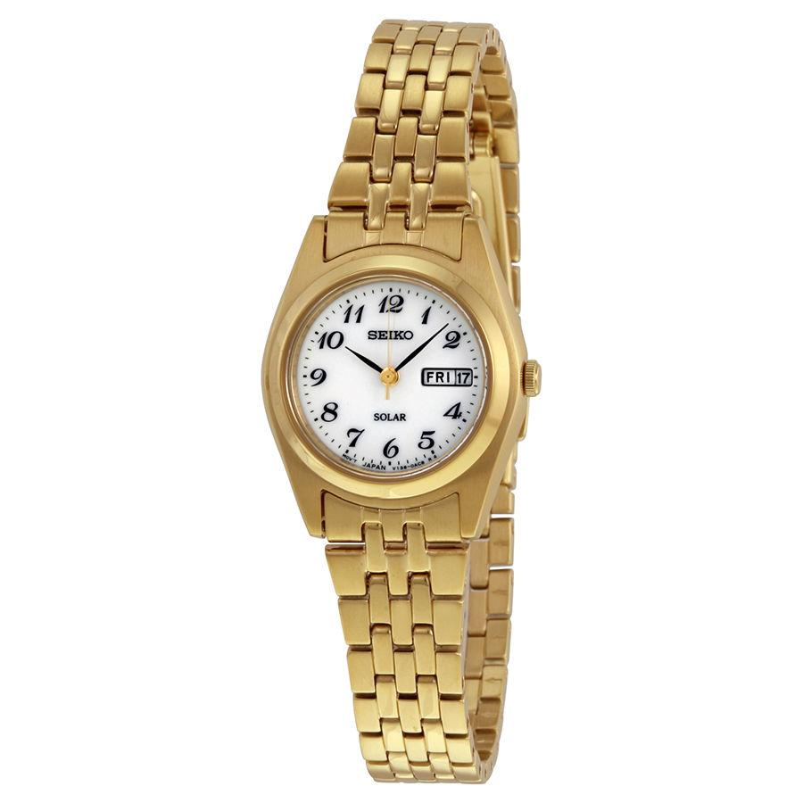 Seiko Womens Goldtone White Dial Dress Calendar Watch