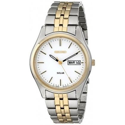 Seiko Mens Two-Tone White Dial Solar Calendar Watch