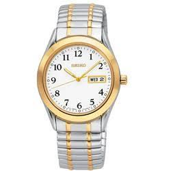 Seiko Mens Two-Tone Solar White Dial Watch