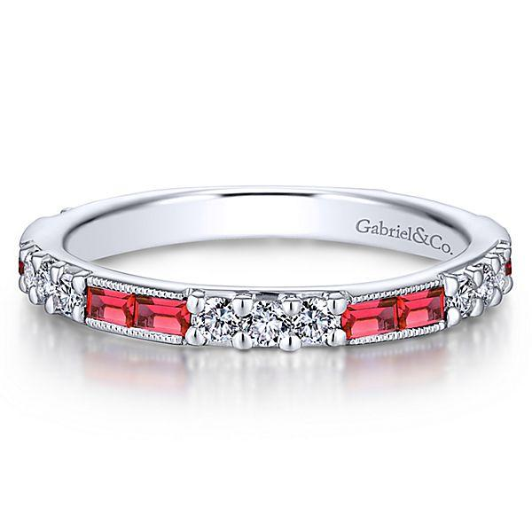 14k White Gold Stackable Diamond and Ruby Ladies Ring