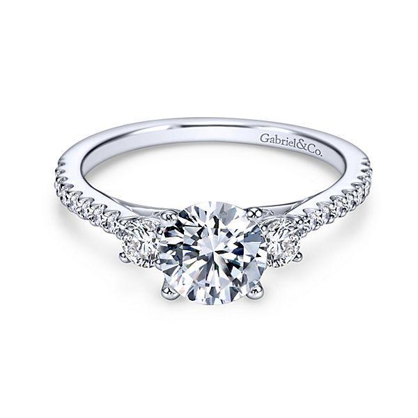 14k White Gold Round 3 Stones Diamond Engagement Ring