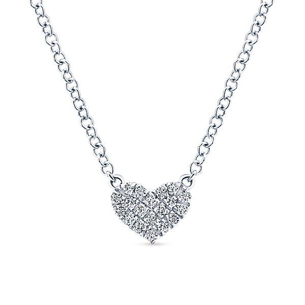 14k White Gold Heart Diamond Necklace