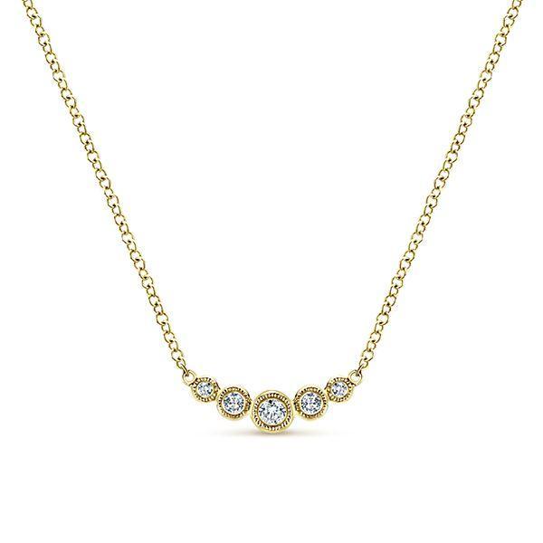 14k Yellow Gold Bar Diamond Necklace