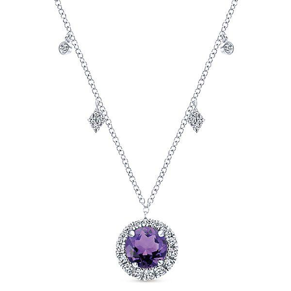 14k White Gold Fashion Diamond Amethyst Necklace