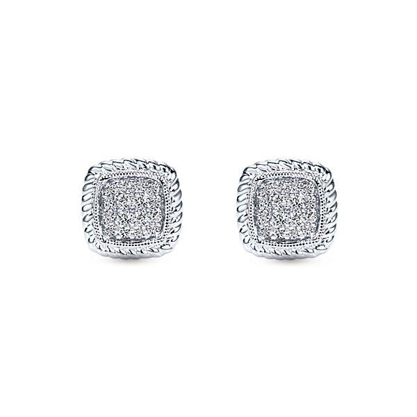 14k White Gold Stud Diamond Earrings