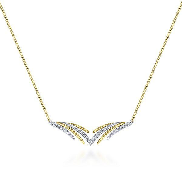 14k Yellow/white Gold Bar Diamond Necklace