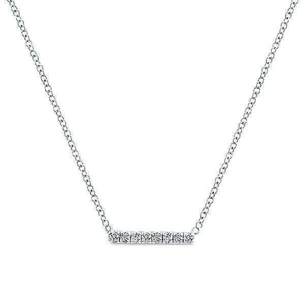 14k White Gold Bar Diamond Necklace