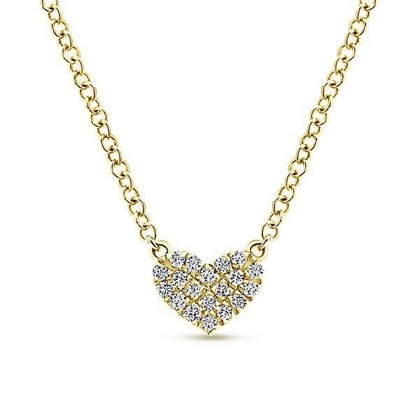 14k Yellow Gold Heart Diamond Necklace