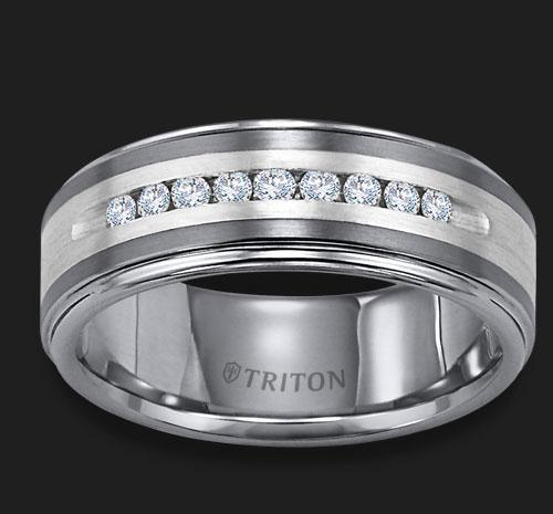TUNGSTEN/SILVER DIAMOND BAND