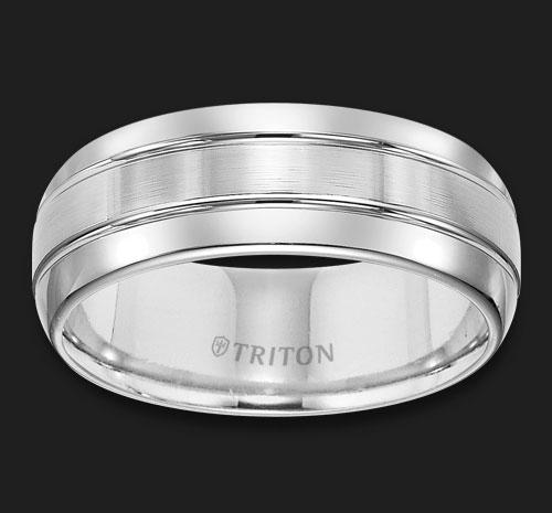 TUNGSTEN BRUSHED SUN GROOVED RING