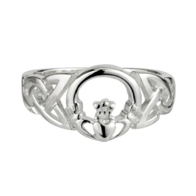 Sterling Silver Ladies Claddagh Ring with Celtic Front
