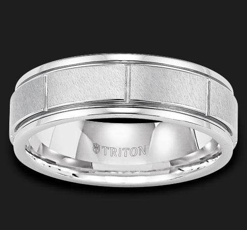 TUNGSTEN VERTICAL CUT WEDDING BAND