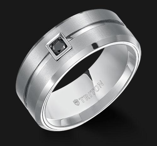 TUNGSTEN WEDDING BAND WITH BLACK DIAMOND