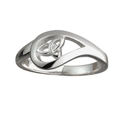 Ladies Sterling Silver Trinity Knot Tear Drop Ring