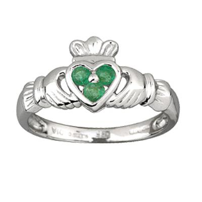 Ladies 14k White Gold Claddagh Ring with 3 Emeralds