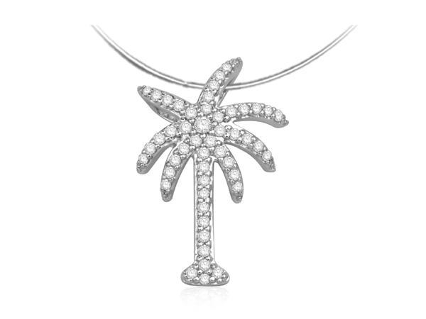 14k White Gold Diamond Palm Tree Necklace