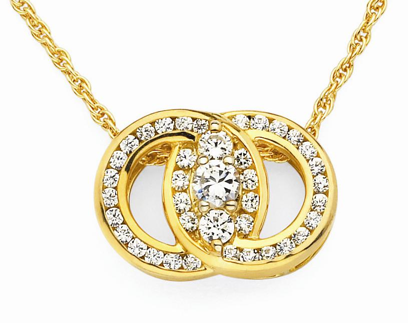 14k Yellow Gold Marriage Pendant 1/2ct
