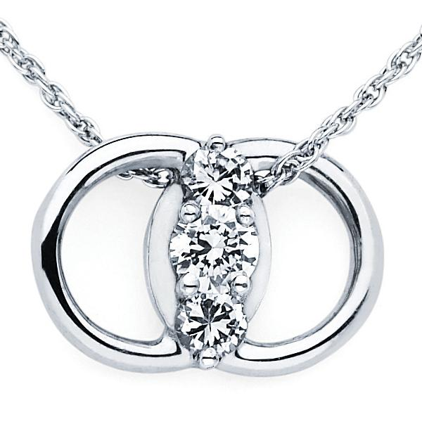 14k White gold Marriage pendant 1/2ct